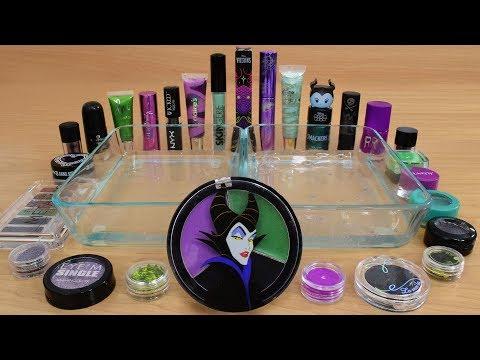 Maleficent Purple vs Green vs Black Mixing Makeup Eyeshadow Into Slime 205 Satisfying Slime Video