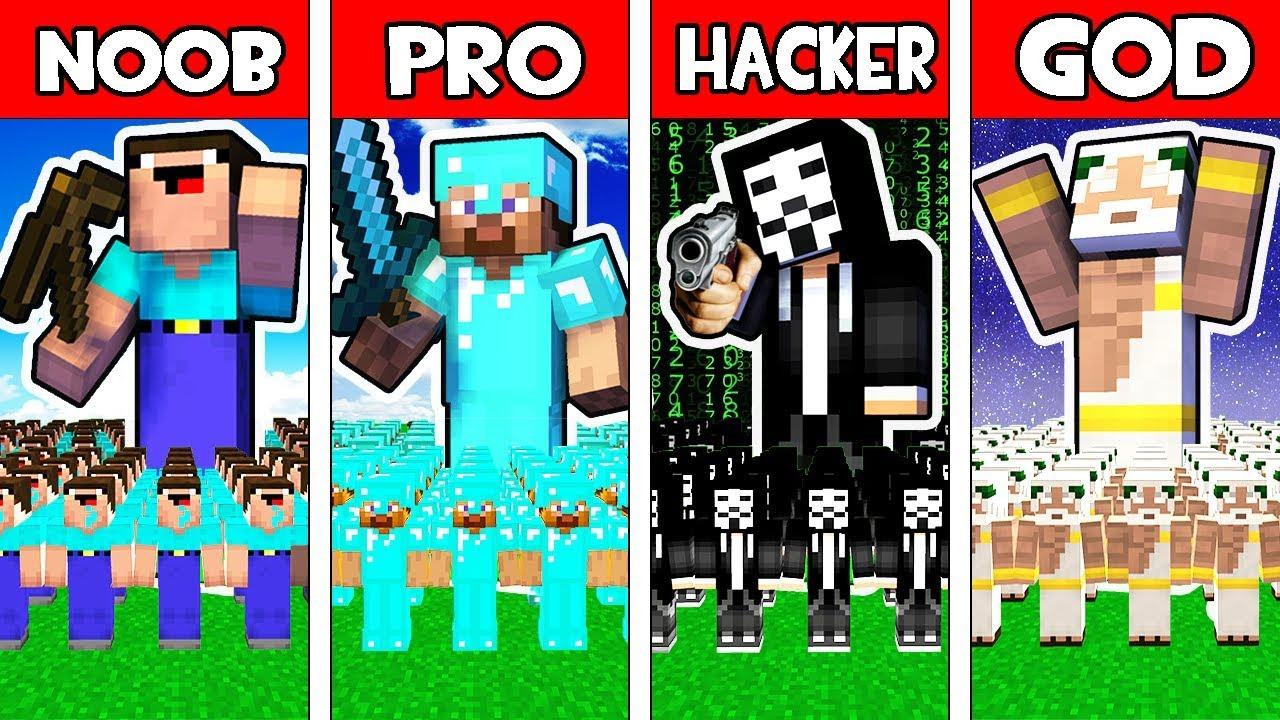 Minecraft - NOOB vs PRO vs HACKER vs GOD : FAMILY ARMY BATTLE in Minecraft Animation