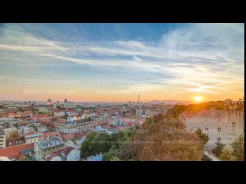 Aerial view at Zagreb downtown timelapse, sunset time, Croatia capital city