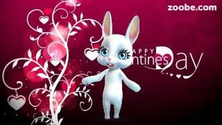 Зайка ZOOBE на русском «Поздравление подруге в День Святого Валентина»