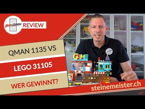 Lego® Spielzeugladen im Stadthaus 31105 versus Qman Game Center 1135  Wer gewinnt das Rennen?