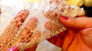 Вязание. Ажурная шаль спицами.