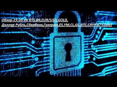 Обзор-19.09.18 RTS,BR,EUR/USD,GOLD, Доллар Рубль,Сбербанк,Газпром,ES,YM,CL,GC,BTC,CRYPTO COINS