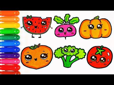 Учим овощи и фрукты. Лёгкие рисунки для детей. - YouTube