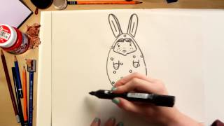 🌺🐰Como dibujar Coccinelle disfrazada de Huevo de Pascua fácil (comentado)