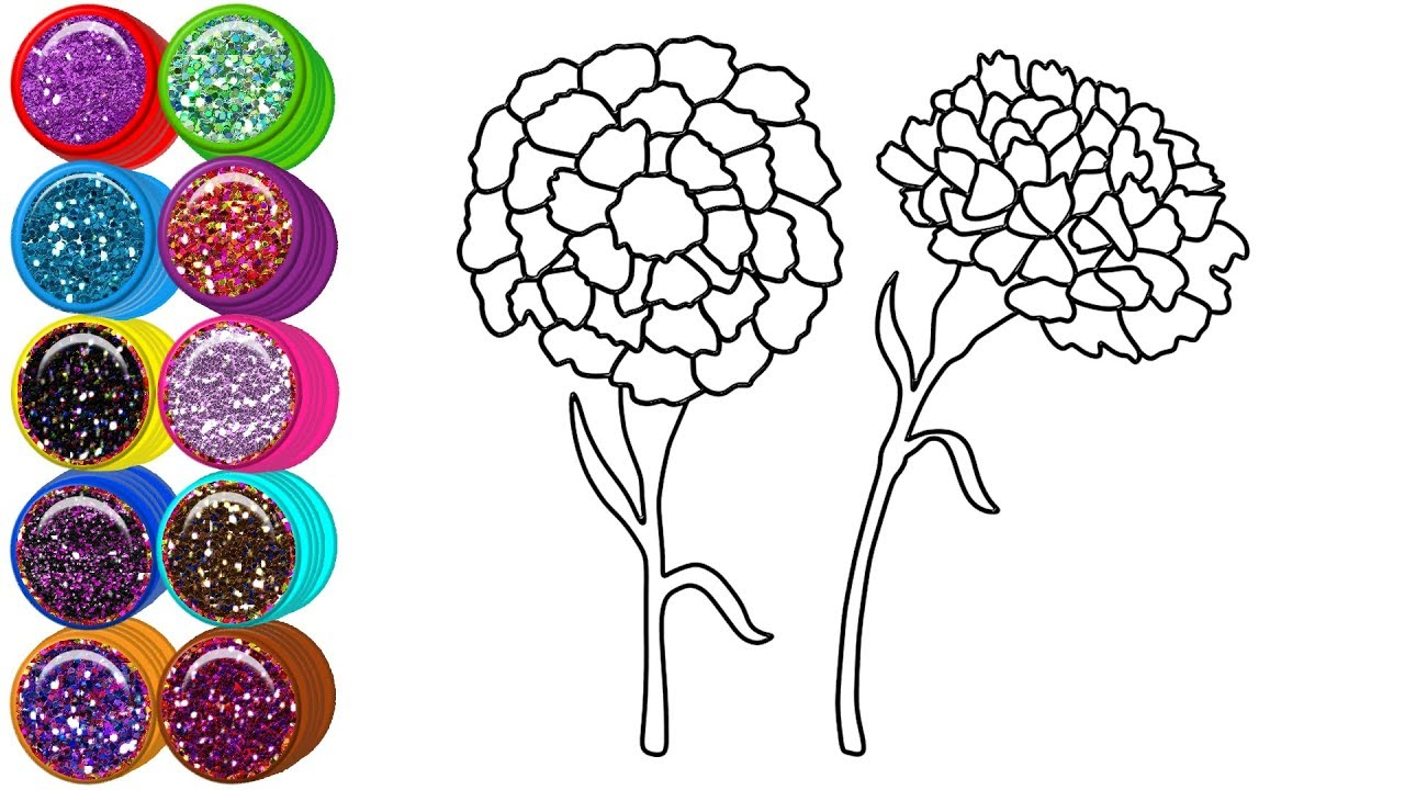 Glitter Flowers Coloring Pages For Kids How To Draw Marigold Mirza Colors Kids Youtube