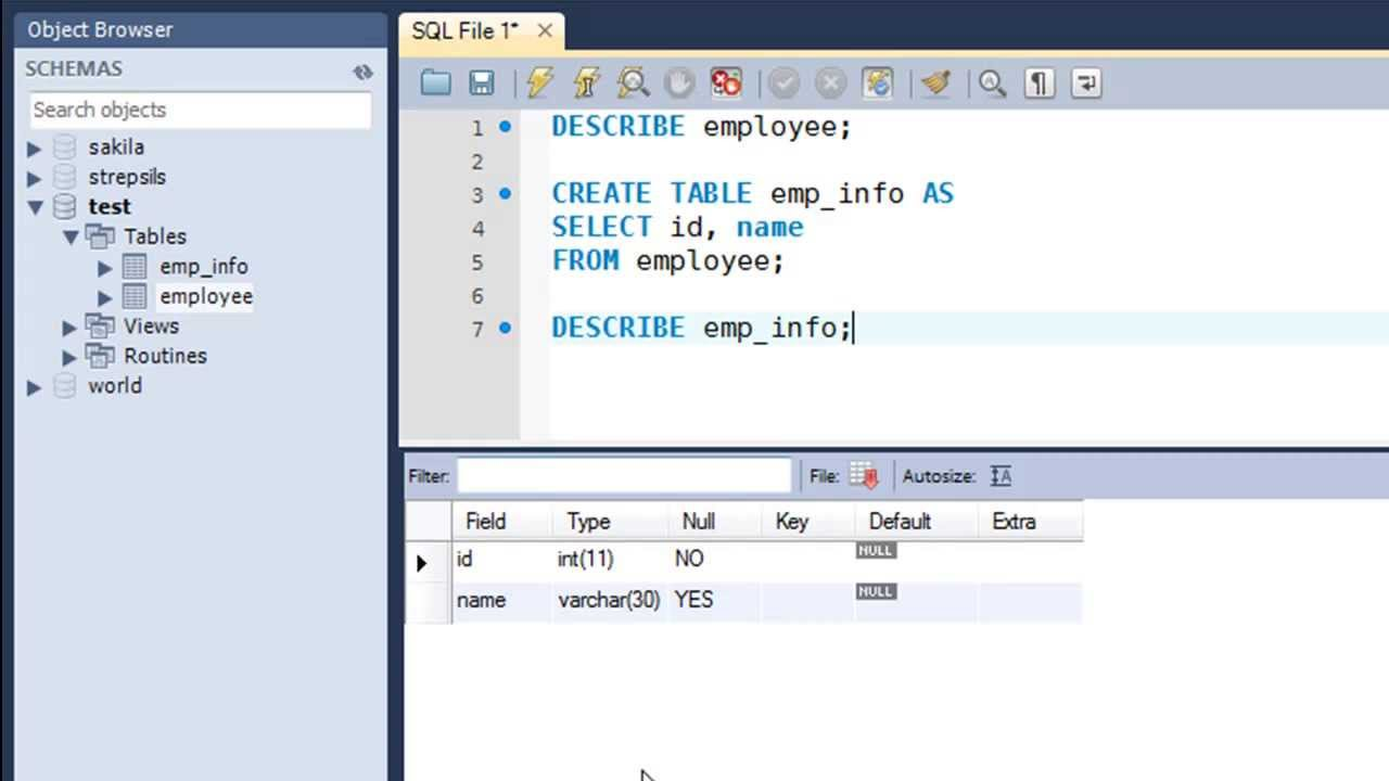 Sql Tutorial 10 Creating Tables From Other Tables