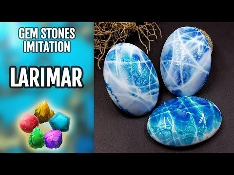 DIY. Larimar Gemstone. Polymer Clay Realistic Natural Gemstone imitation technique. VIDEO Tutorial!