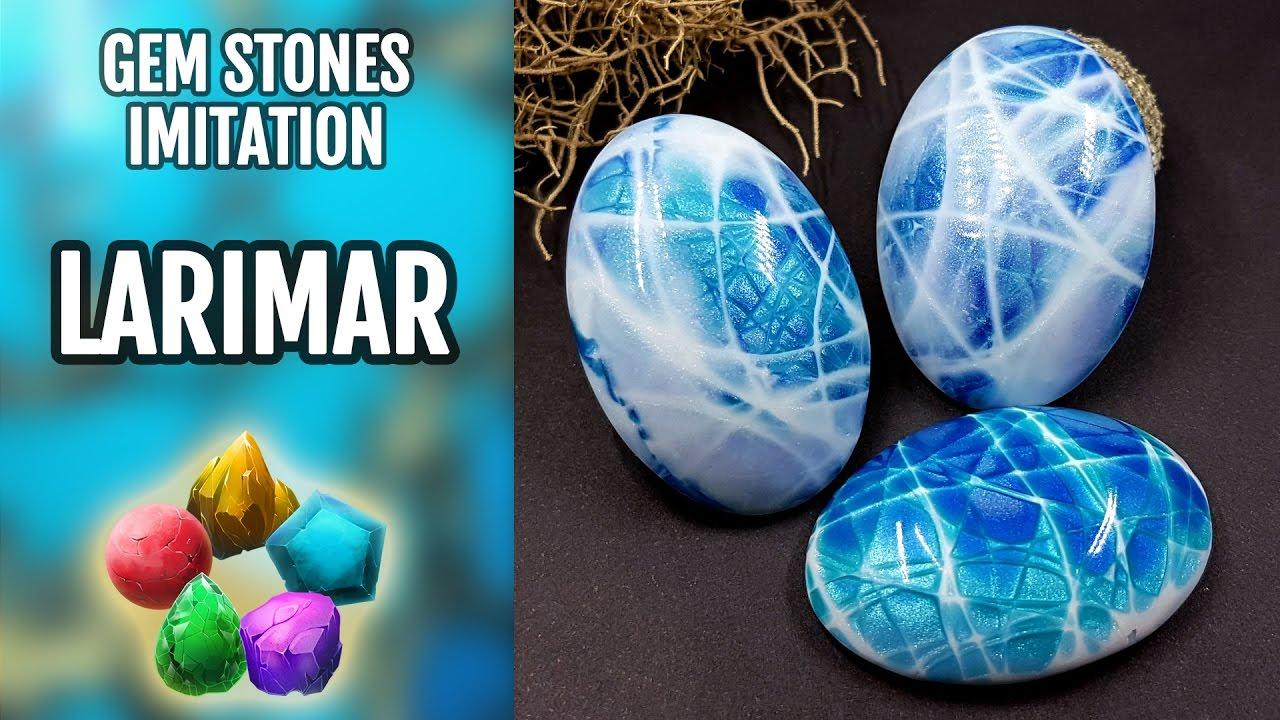 DIY. Larimar Gemstone. Polymer Clay Realistic Natural Gemstone ...