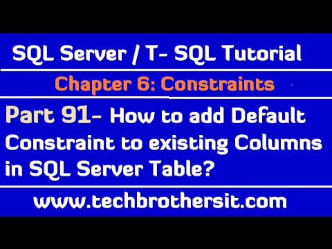 How To Add Default Constraint To Existing Columns In Sql Server Table