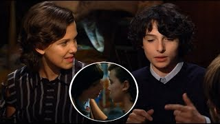 Stranger Things 2 | Millie Bobby Brown and Finn Wolfhard talk about their kiss