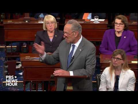 Sen. Chuck Schumer addresses the Senate after the