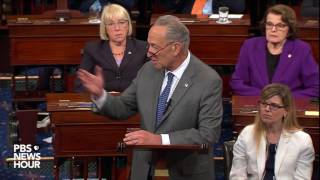 Sen. Chuck Schumer addresses the Senate after the 'skinny' ACA repeal bill fails