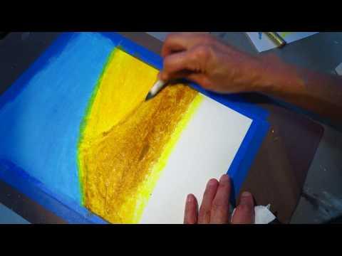 Learn to paint oil pastel desert tree not asmr