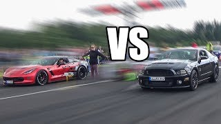 Chevrolet Corvette C7 vs Ford Mustang GT 5.0 - DRAG RACE!