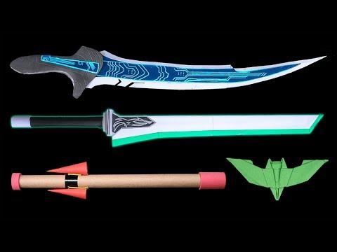 05 Easy Origami Ninja Star/Sword/Knife/Gun - How to make