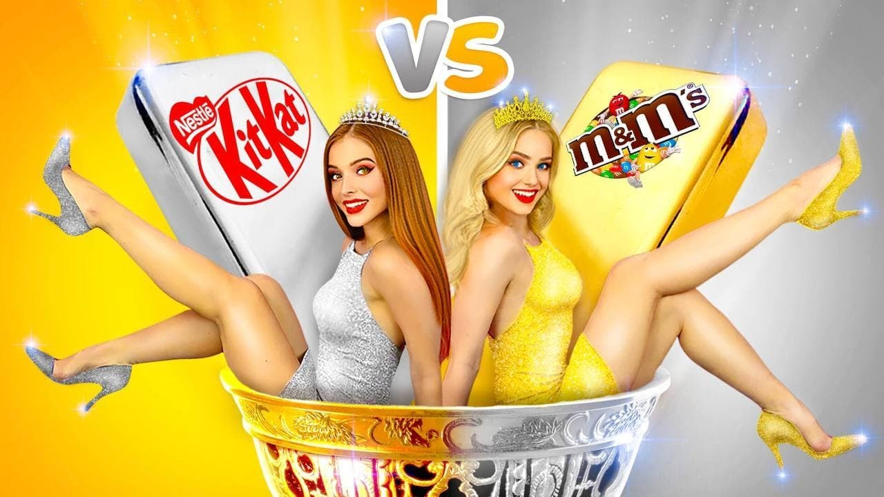 Download GOLD Girl VS SILVER Girl Challenge! | One Color Food Battle for 24 HOURS by RATATA BOOM