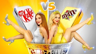 GOLD Girl VS SILVER Girl Challenge!  One Color Food Battle for 24 HOURS by RATATA BOOM