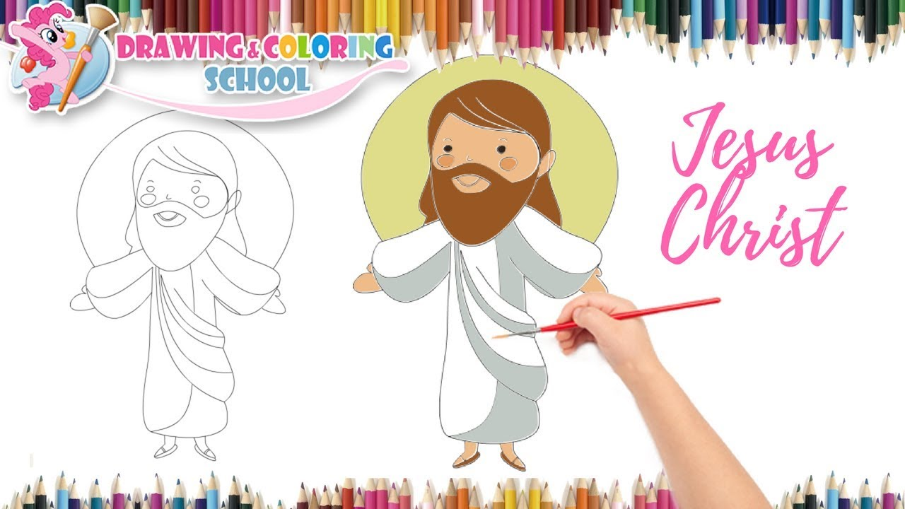 How To Draw Jesus With Color For Kids Step By Step