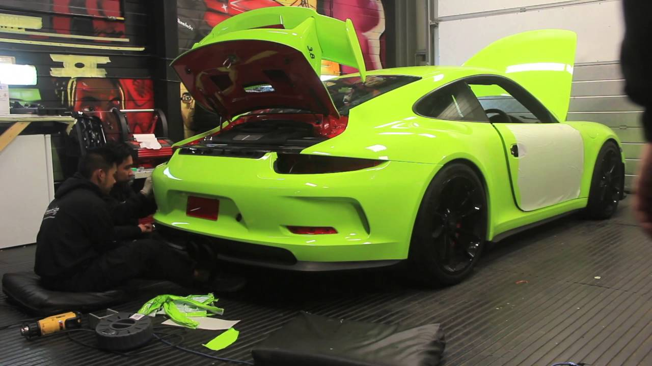 Porsche 991 Gt3 Gets Wrapped Acid Green Youtube
