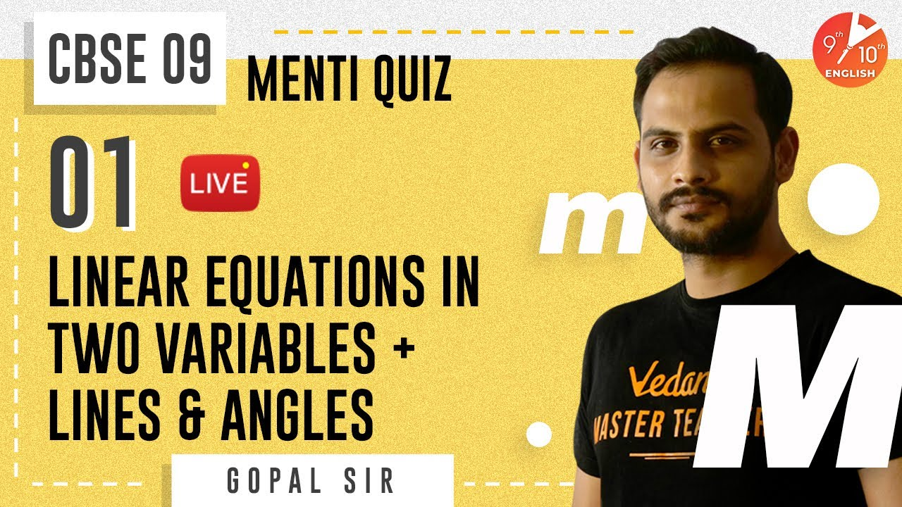 Download Linear Equations in Two Variables & Lines and Angles L-1   Maha Menti   CBSE 9 Math   NCERT  Vedantu