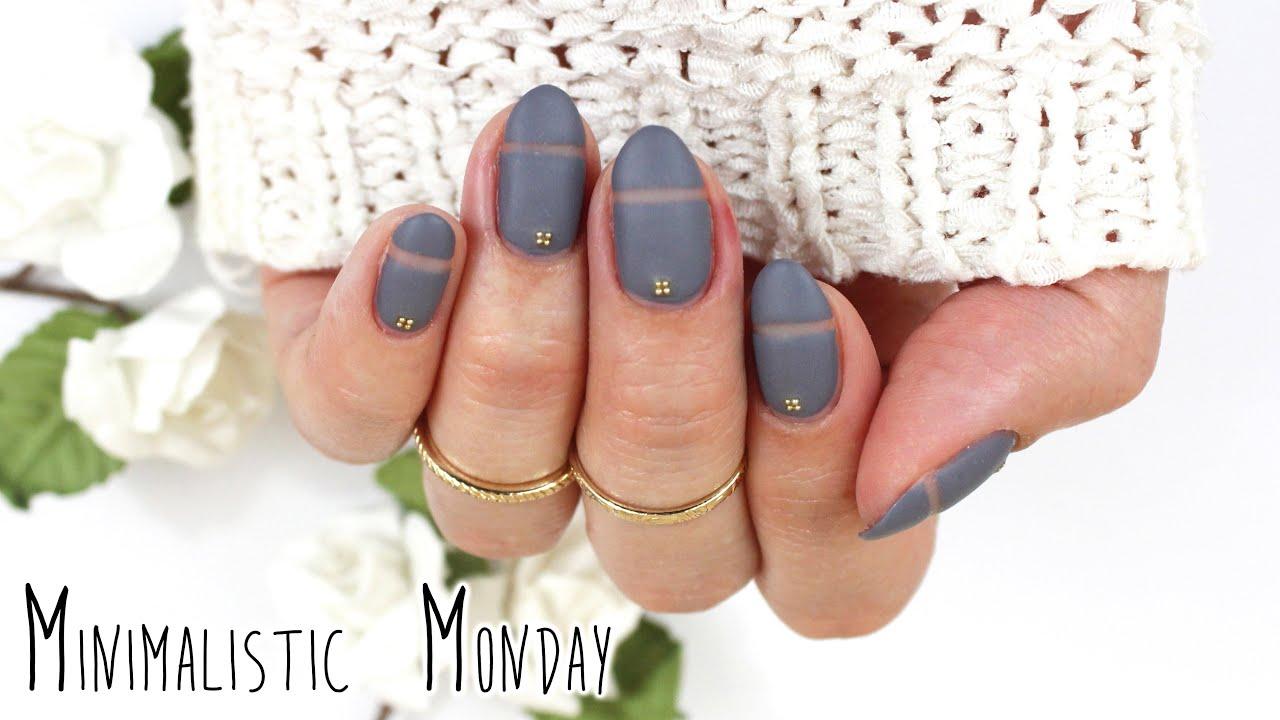 Minimalistic Monday No.1 | Matte Negative Space Nail Art ♡ - YouTube