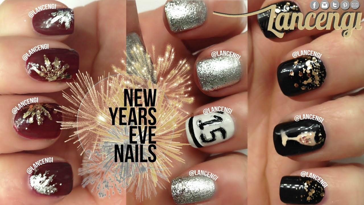 Diy Cute Easy New Years Eve Nail Art Use Glitter On