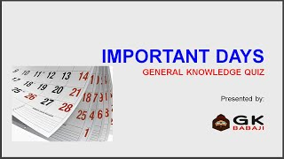 Important Days GK Quiz in English | With PDF of Full List from January to December