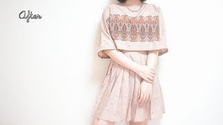 vuclip Refashion DIY ✂️ Vintage long skirt to Boat neck Crop Top dressㅣmadebyaya
