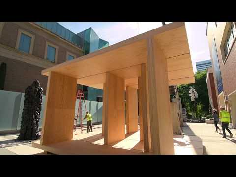 Timelapse of Mass Plywood Art Installation at the Portland Art Museum