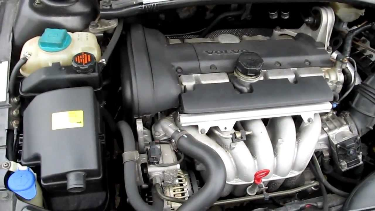 volvo v70 2001 b5244s2 5 cylinder engine under the hood running volvo v70 2001 b5244s2 5 cylinder engine under the hood running idle
