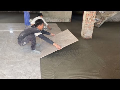 Amazing Techniques Construction A Bedroom Floor With Large Size 100 x 100cm Ceramic Tiles