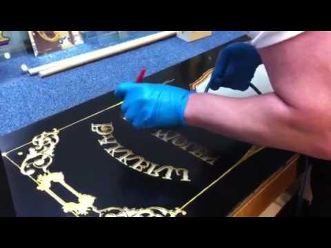 Airbrushen van 12 uur olie mixtion bindmiddel voor vergulden achter glas gilding glass