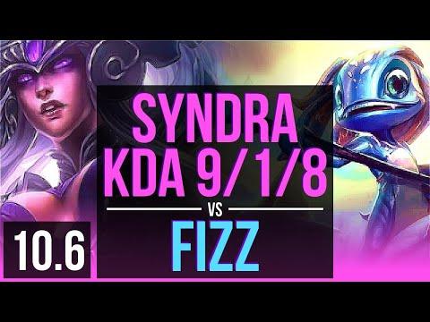 SYNDRA Vs FIZZ (MID) | 3.1M Mastery Points, KDA 9/1/8, 600+ Games, Dominating | EUW Diamond | V10.6
