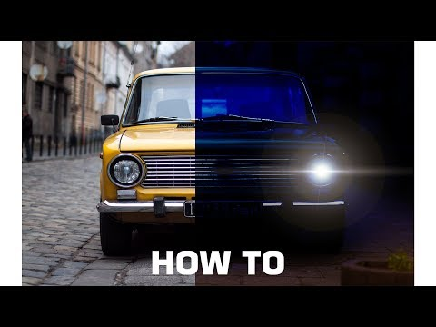 Photoshop Tutorial - Realistic Car Headlights Glowing Lights Effect Night Scene.