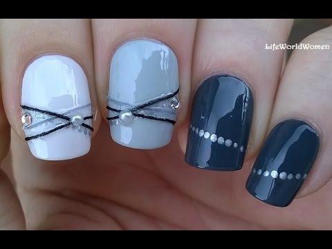 BRACELET NAIL ART Design In Shades Of Grey - Elegant Nails - BRACELET NAIL ART Design In Shades Of Grey - Elegant Nails - YouTube