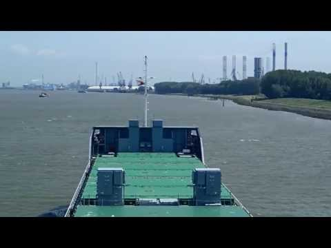 Ebroborg sailing with pilot on board to Sint Laurenshaven in Rotterdam