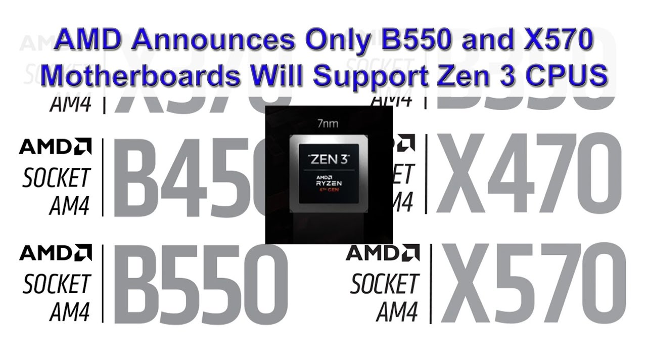 Amd Announces That The Long Awaited Zen 3 Cpus Will Only Run On B550 And X570 Motherboards Youtube