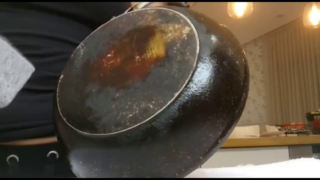 How To Clean Frying Pan Bottom With Sag Magic Stone Youtube
