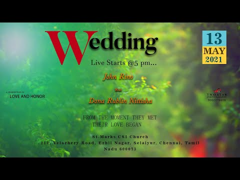 John Rino weds Dona Rublin Nittisha | Two Star Photography | Wedding Live stream | 13/5/2021
