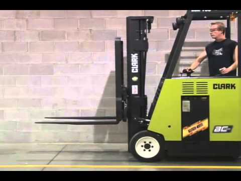 Clark Esx Electric Stand Up Rider Forklift Youtube