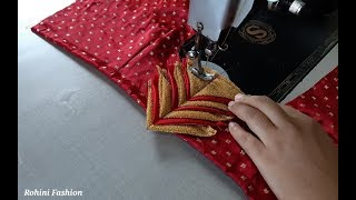 Very simple and easy designer blouse back neck design|cutting and stitching back neck.