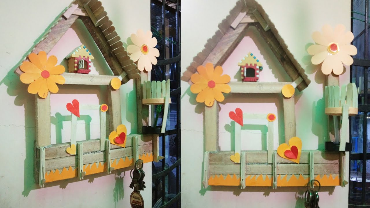 DIY Wooden Key Holder for Wall hanging ideas // home decorating idea ...