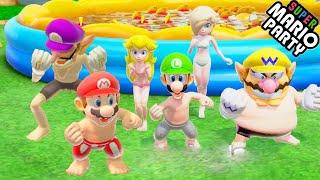 Super Mairo Party All Minigames - Daisy vs Rosalina vs Bowser vs Yoshi (Master CPU)
