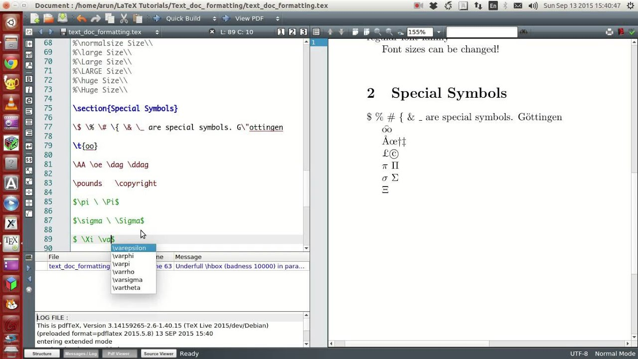 Latex Programming 021 Special Symbols Part 1 Of 2 Youtube