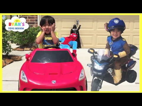 Thumbnail: Spiderman Pretend Play Compilation! Steal Eggs Surprise Disney Toys! Kids Power Wheels Ride On Car