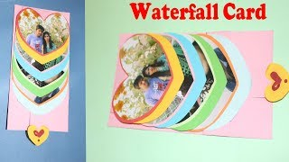 How to Make Waterfall Heart Card | Waterfall Card for Scrapbook | DIY Valentine Cards
