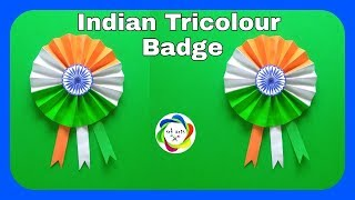 How to make Indian tricolour Badge||Independence day Badge||26January Badge||srk drawings||srk arts|