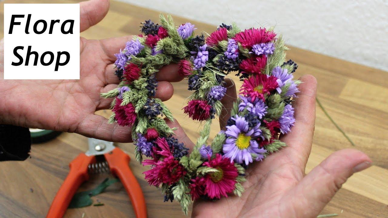 Trockenblumen Deko Herz selber machen ❁ Floristik Anleitung ❁ Deko Ideen mit Flora-Shop