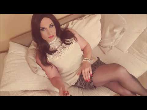 Tranny in stockings, short skirt and heels